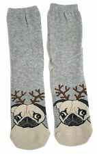 LADIES FESTIVE PUG WITH ANTLERS CHRISTMAS SOCKS UK 4-8 EUR 37-42 USA 6-10