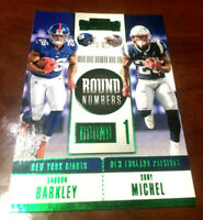 "2018 Contenders RC Round Numbers Saquon Barkley & Michel GREEN Parallel   ""RARE"""
