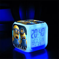 Minions 7 Color Changing LED Digital Alarm Clocks For Kids & Christmas Gift