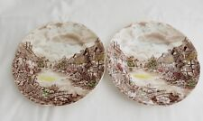 "2 VINTAGE JOHNSON BROS MADE IN ENGLAND THE OLD MILL 6 1/4"" BREAD PLATES"