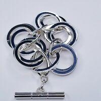 Ralph Lauren RLL Bracelet Large Triple Circle Links Toggle Silver Tone Marked