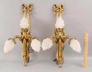Pair Antique French 19thC Louis XV Gilt Bronze Triple Light Sconces Flame Shades