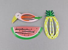 Pineapple Watermelon Toucan parrot metal hair clip snap barrette click tic tac