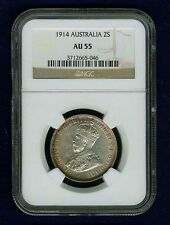 AUSTRALIA 1914-(L) FLORIN SILVER COIN, ALMOST UNCIRCULATED CERTIFIED NGC AU55