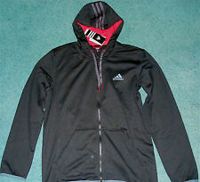NWT Mens Adidas M Black/Red/Gray Zip Up HOLI FZ HOODY Sweatshirt Medium $65