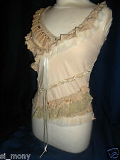 Women/Girls Beige Top Stretch Sleeveless lace&beads River Island size 6