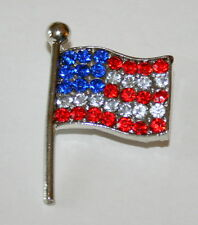 USA American Flag 4th July Election Day Crystal Patriotic Brooch Pin America