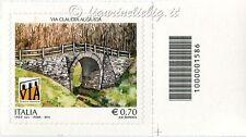 2014 francobollo Via Claudia Augusta SX CODICE A BARRE 1586