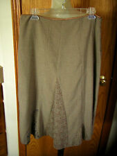 FREE PEOPLE-TAUPE-BELOW KNEE SKIRT-DIFFERENT PATTERN GUSSETS-POLY/VISCOSE-9-EUC