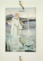 King Watches Lady Of The Lake & Hand With Excalibur, Book Illustration, 1925