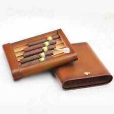 COHIBA Brown Real Leather Cedar 5 Tube Travel Cigar Case Humidor W Humidifier