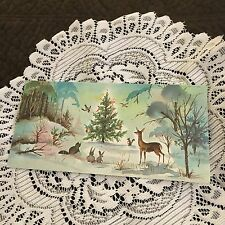 Vintage Greeting Card Christmas Forest Tree Animals Deer Birds Bunny