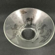 Attractive Glass Display Bowl Etched African Animals design 7cm Tall by 14 cm D