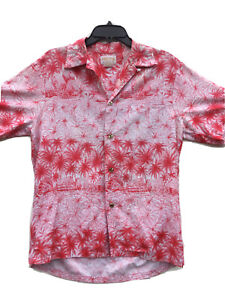 Vintage Authentic McInerny Hawaiian Shirt Red White Mens M 80s