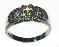 Yellow Sapphire Natural Genuine Gemstone Sterling silver ring RSS,1079