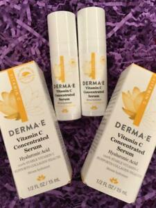 2x DERMA-E Vitamin C Concentrated Serum .5oz Ea, Travel Size DermaE - NEW in Box