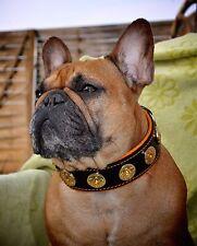 "Bestia ""Bijou"" leather dog collar. Studded. Soft padded. 2 inch wide. handmade!"