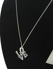 """QVC Silver Plated Love and Heart Pendant Chain Length 18"""" W/ 3"""" Extension"""