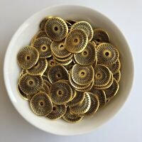 25X Antique Metal Disc Beads 15mm Twisted Circle Etched Spacers