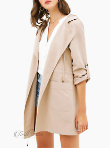 Montrez   Taupe Hooded Drawstring Waist Open Front Trench Coat   NWT Size: S M L