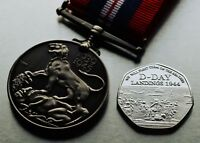 British Service War Medal 1939-1945 & Silver WW2 D-Day Landings Commemorative