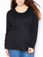 Ex-Evans Ladies t-shirt top plus size 16 18 20 22/24 black cotton long sleeve