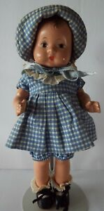 """Effanbee Vintage Composition 8"""" Patsy Tinyette Toddler Doll in Original Outfit"""