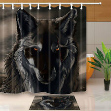 Gray wolf Shower Curtain Bedroom Decor Waterproof Fabric & 12Hooks 71*71inch