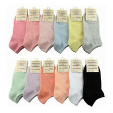 5 Pairs Women Candy Color Ankle High Low Cut Cotton Socks Sports Casual Sock
