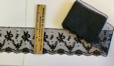 """Vintage/Antique Cotton Lace, Black 2 Yards & 30"""" New"""