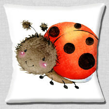 Ladybird Cushion Cover 16x16 inch 40cm Cute Smiling Beetle Artistic Modern White