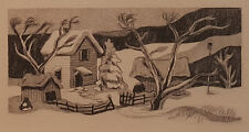 "George Jo Mess ""Seasons Greetings"" 2.5x4.5""  Holiday Etching  Ind. Historic Art"