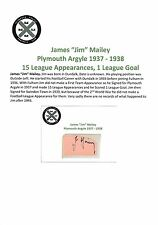 JIM MAILEY PLYMOUTH ARGYLE 1937-1938 VERY RARE ORIGINAL HAND SIGNED CUTTING/CARD