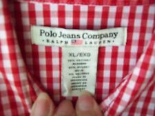 L@@K!! POLO JEANS COMPANY RALPH LAUREN LADIES Sz. XL RED CHECK BUTTON UP SHIRT