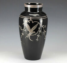 Art-Deco Rockwell Silver Overlay Black Amethyst Glass Vase Parrot on branch