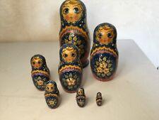# 7 Poupées russes anciennes signé ,Matriochka Nested Doll