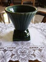 Vintage Pedestal Planter  Pottery Green and White Drip