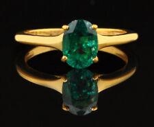 14KT Finest Yellow Gold 1.20 Carat Natural Zambian Green Emerald Women's Ring