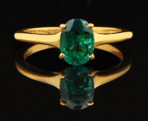 1.20 Carat Natural Zambian Green Emerald Women's Ring 14KT Finest Yellow Gold
