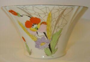 Vintage John Tams Tams Ware Pattern 2037 Poppy Art Deco Sugar Bowl c1930 VGC