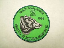 Vintage 1988 Black Bear Hunter Ministry of Natural Resources Ontario Patch