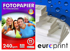 Fotopapier 240g 100 Blatt 10x15 Hochglänzend Mikroporös Rückseite PE Qualität