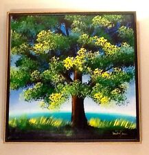 "Mid Century Framed Signed OIL PAINTING Tree Landscape 25x25"" VTG Seascape Ocean"