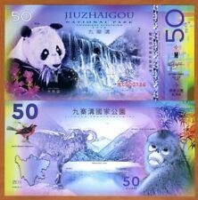 China, Jiuzhaigou National Park, 50 Yuan, Polymer, 2018 > Panda, Monkey