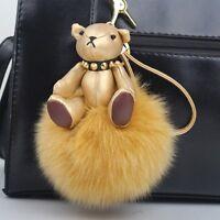 Golden Leather Teddy Bear Fox Fur Puffy Pom Ball Keyring keychain Bag Charm US