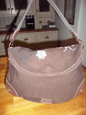 Fat Face brown canvas and real leather trim medium size handbag