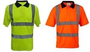 HI VIZ VIS POLO T SHIRT REFLECTIVE TAPE SAFETY WORK WEAR PPE BS EN471 SITE WORK