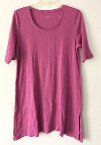 NEW J. JILL M Tall Pima Slub-knit S/S Dipped hem Tunic Knit 100% Cotton Pink