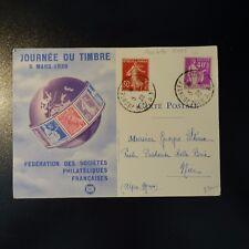 TYPE PAIX N°281 TYPE II ROULETTE LETTRE COVER JOURNÉE DU TIMBRE CAD NICE 1939
