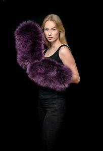 Giant Purple Silver Fox Fur Teddy Bear Mittens Gloves